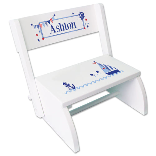 Personalized Boys Sailboat Childrens Stool