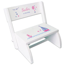 Personalized Pink Sailboat Childrens Stool