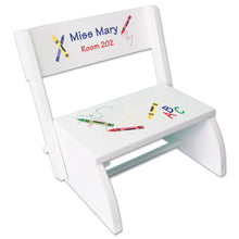 Personalized Crayon White Flip Stool