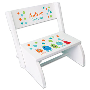 Personalized Monsters White Flip Stool
