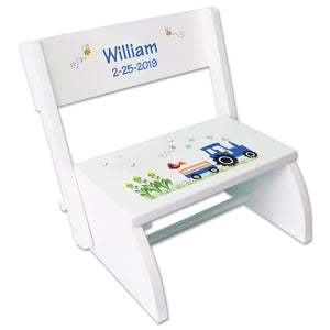 Personalized Blue Tractor White Flip Step Stool