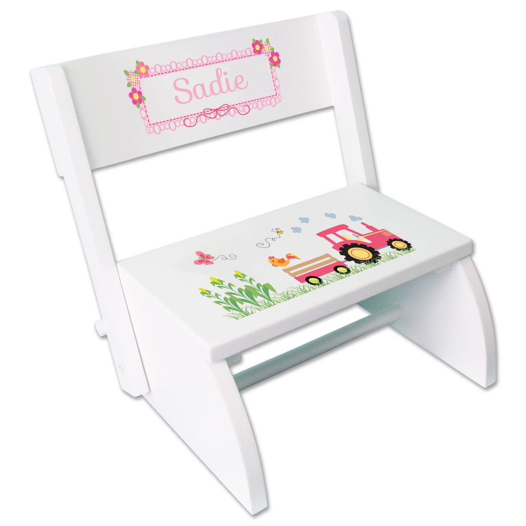 Personalized White Stool Pink Tractor Design