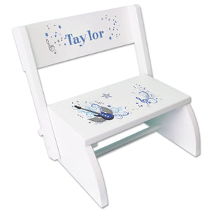 Personalized Blue Rock Star Childrens Stool