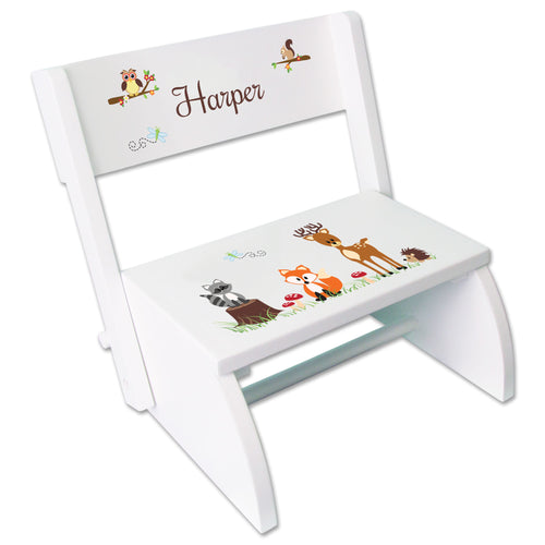 Personalized Green Forest Animal Childrens Stool