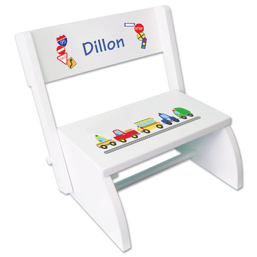 Personalized Cars And Trucks Childrens Stool