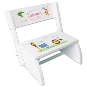 Personalized childs Jungle Animals Stool