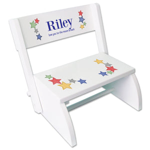 Personalized Stitched Stars White Flip Stool