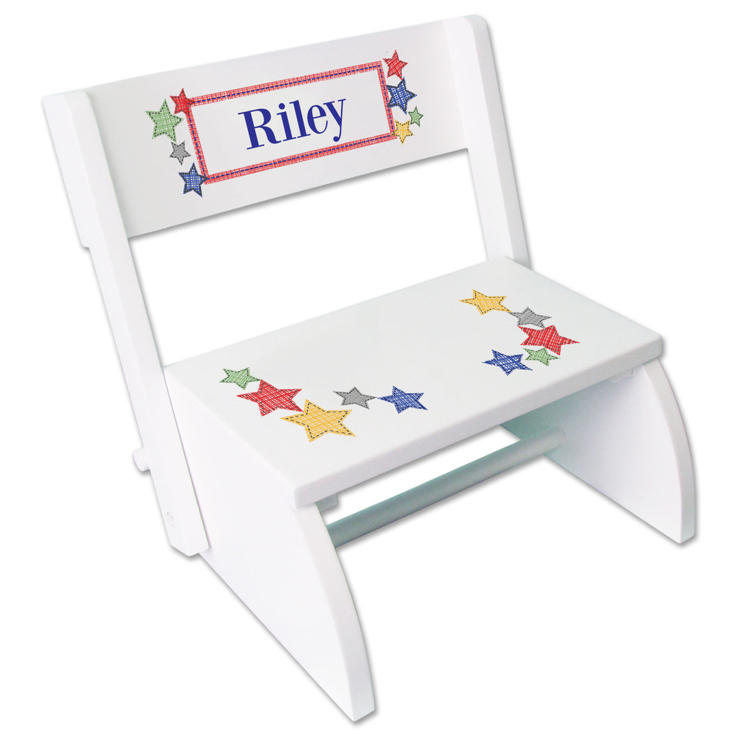 Personalized Stitched Stars Childrens Stool