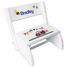 Personalized Race Cars Childrens Stool