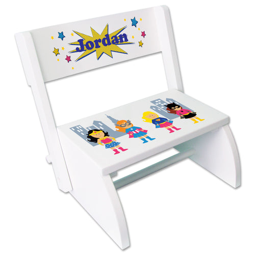 Personalized Girls Superhero Childrens Stool