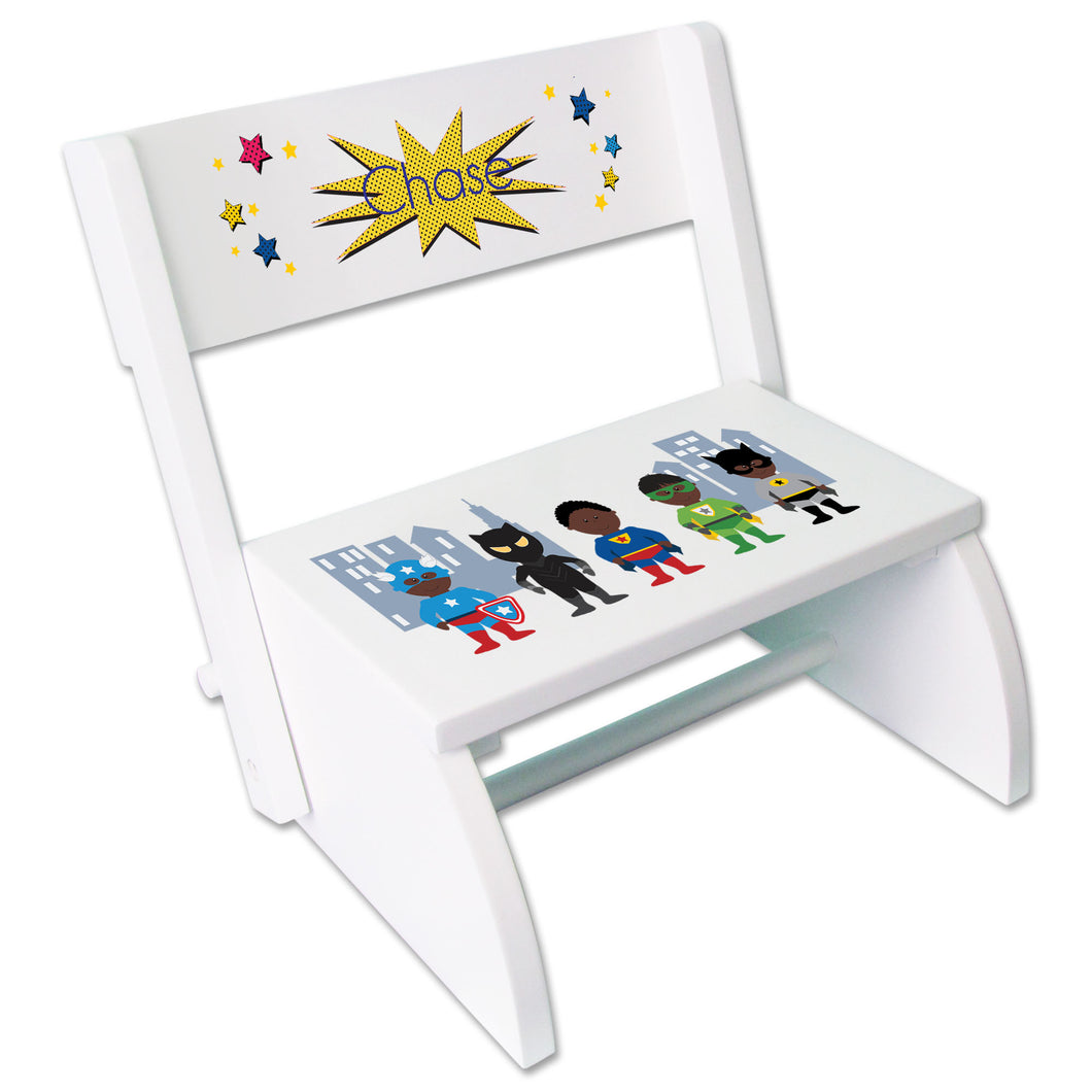 Personalized White Stool African American Super Hero Design