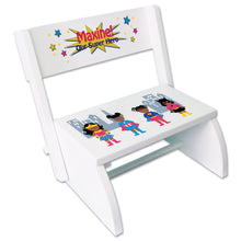 Personalized Childrens African American Superhero stool