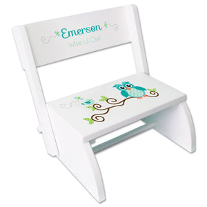 Personalized Gingham Owl White Flip Stool