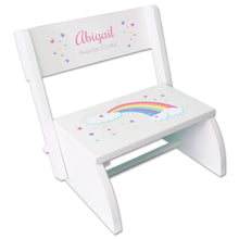 Personalized White Stool Pastel Rainbow Design