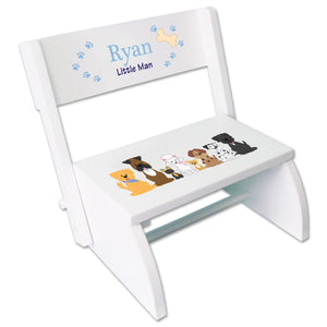 Personalized Blue Dogs White Flip Stool