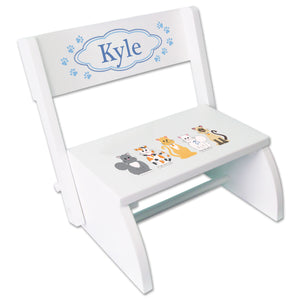 Personalized Blue Cats White Folding Stool