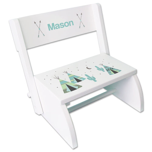 Personalized White Stool Aqua Teepee Design
