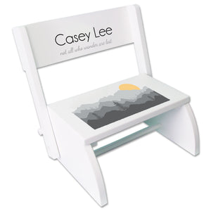 Personalized Misty Mountain White Flip Step Stool