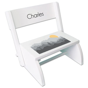Personalized White Stool Misty Mountain Design