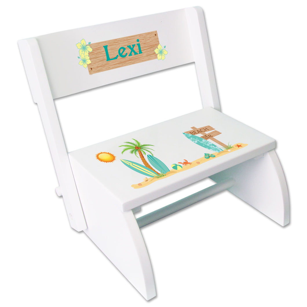 Personalized Childrens surf White Stool