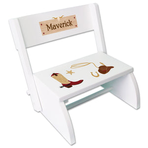 Personalized Childrens White Stool Cowboy