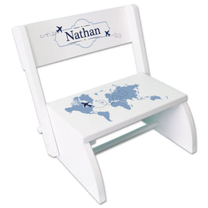 Personalized World Map Blue WhiteStool