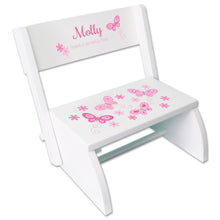 Personalized Pink Butterflies White Flip Step Stool