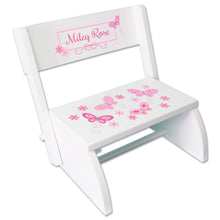 Personalized White Stool Pink Butterflies Design