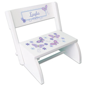Personalized White Stool Lavender Butterflies Design