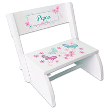 Personalized White Stool Aqua Butterflies Design