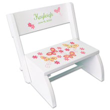 Personalized White Stool Yellow Butterflies Design