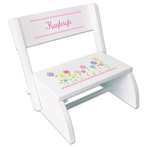 Personalized Stemmed Flowers Childrens Stool