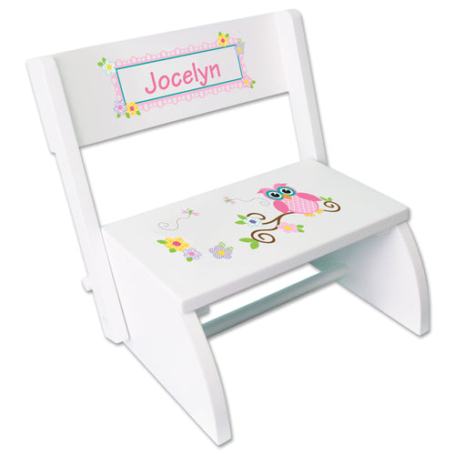 Personalized Pink Owl Childrens Stool