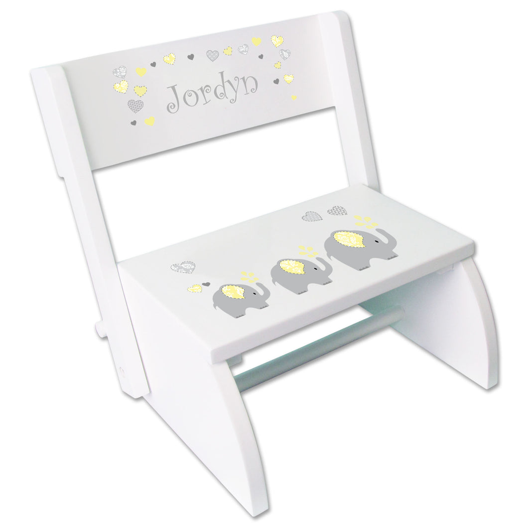Personalized Yellow Elephants Childrens Stool