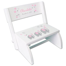 Personalized Pink Elephant Childrens Stool