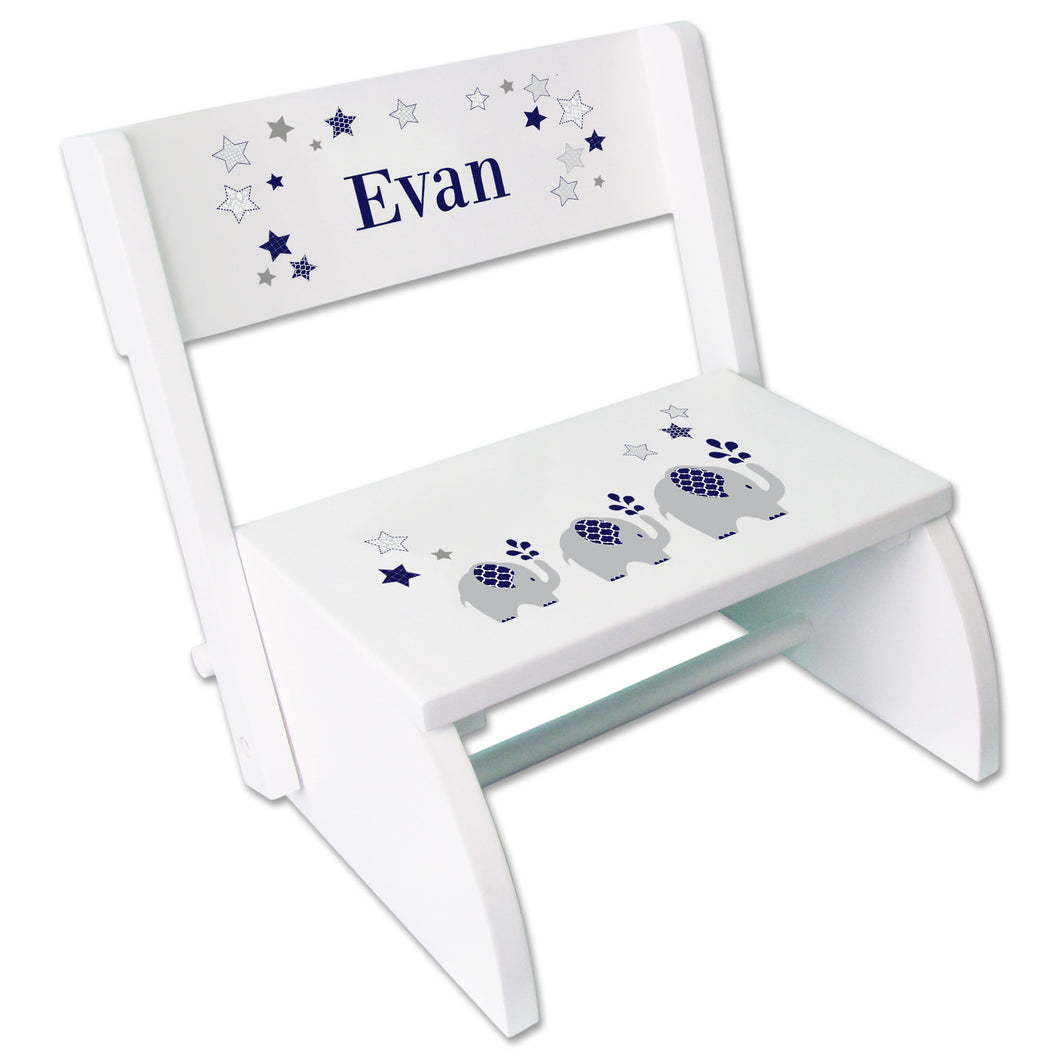 Personalized Navy Elephant Childrens Stool