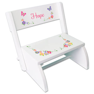Personalized Bright Butterflies Garland Childrens Stool