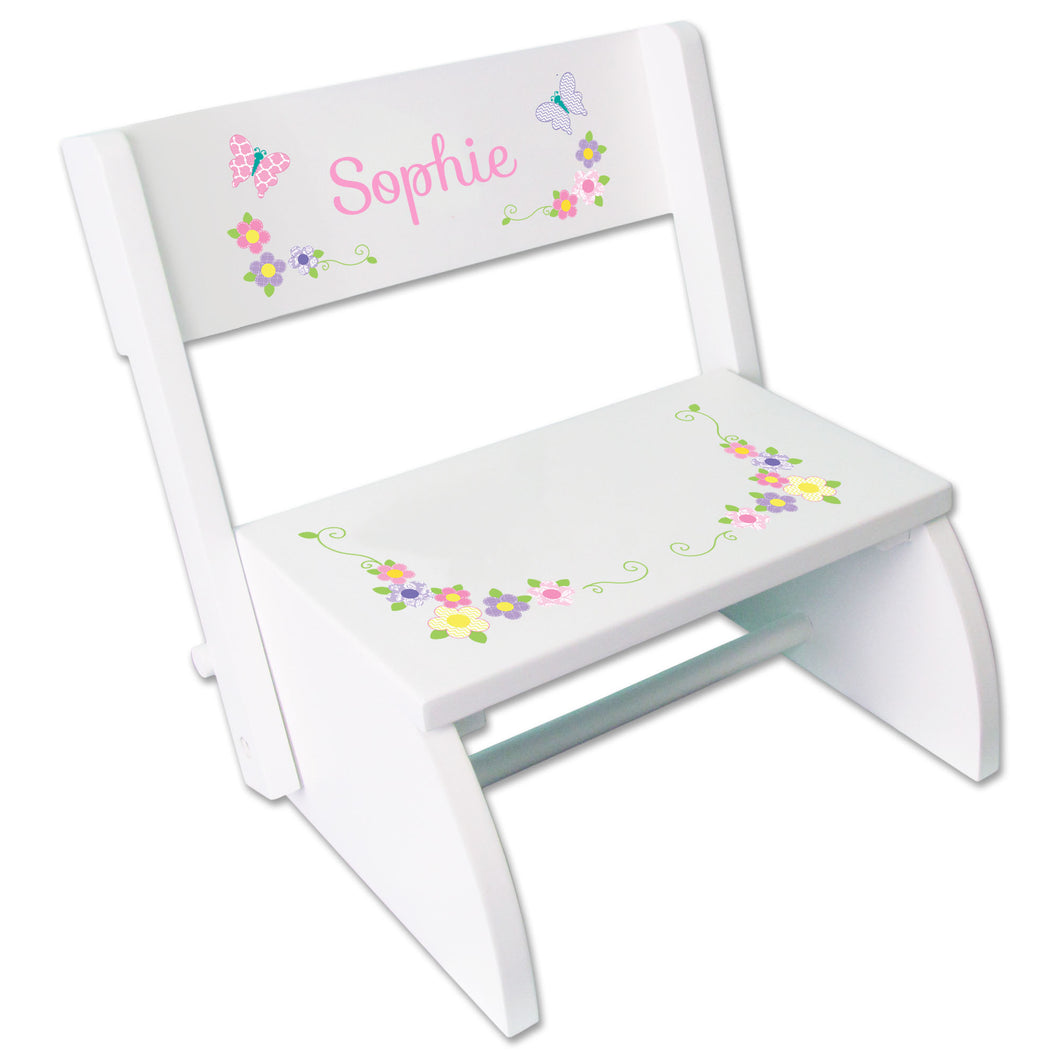 Personalized Pastel Butterfly Garland Childrens Stool