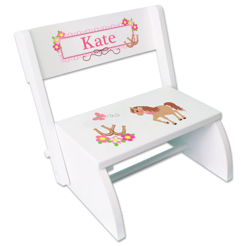 Personalized Ponies Prancing Childrens Stool