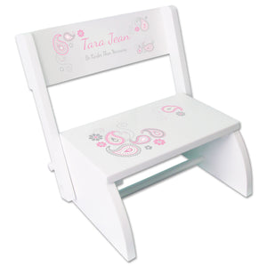 Personalized Pink Gray Paisley White Flip Stool