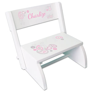 Personalized Paisley Pink Gray Childrens Stool
