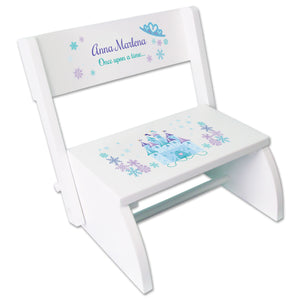 Personalized Winter Castle White Flip Stool
