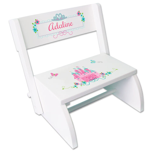 Personalized Pink Teal Princess Castle WhiteStool