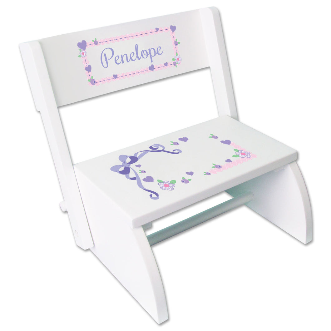 Personalized Lacey Bow Childrens Stool