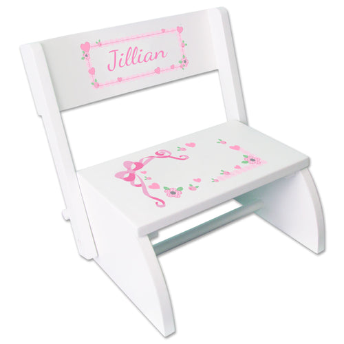 Personalized White Flip Stool With Pink Bow Design