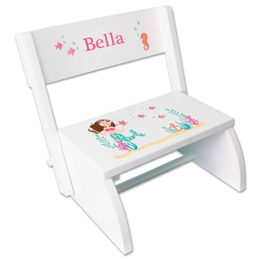 Personalized Brunette Mermaid Princess Childrens Stool