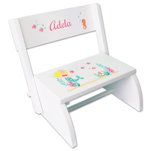 Personalized Blonde Mermaid Princess Childrens Stool