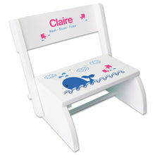 Personalized Pink Whale Childrens Stool