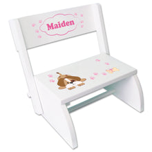 Personalized Pink Puppy Childrens Stool