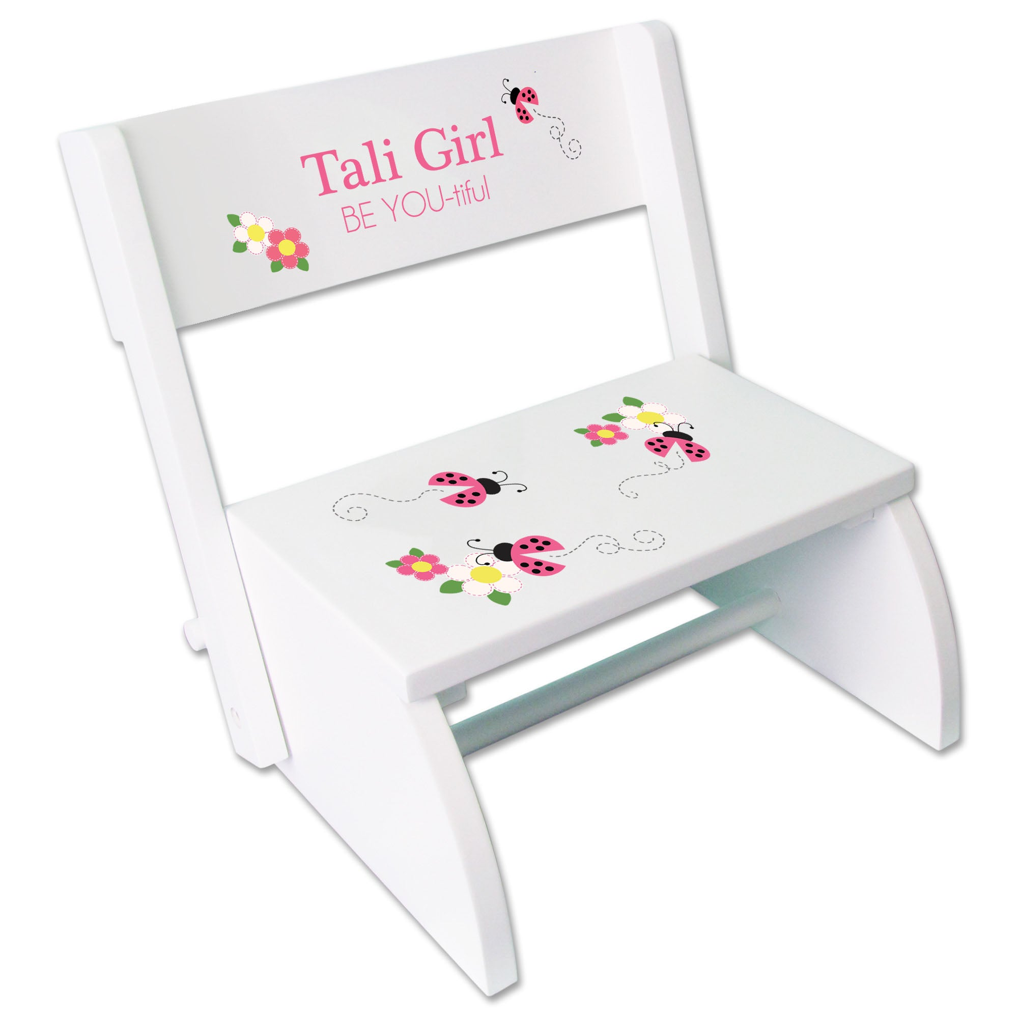 Large Personalized Two Step Stool with Purple Butterflies and Red Ladybugs